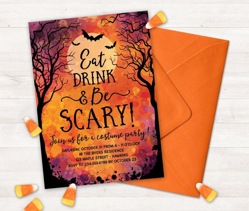 graphic regarding Halloween Invitations Printable referred to as Halloween Celebration Invites Printable Halloween Invitation for Grown ups, Consume Consume and Be Overwhelming Halloween Invitations, Gown Get together Invites