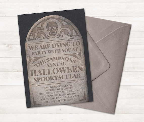 halloween tombstone invitation printable halloween party
