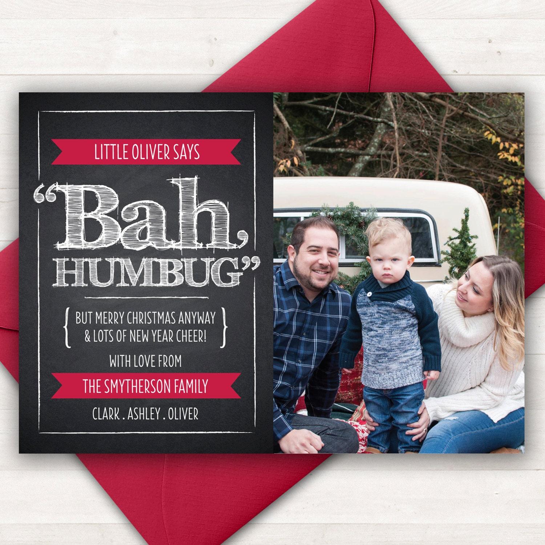 Bah Humbug Christmas Card Funny Christmas Cards Photo | Etsy
