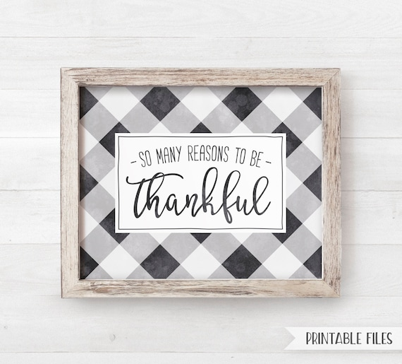 Printable Thankful Buffalo Check Sign Printable Farmhouse