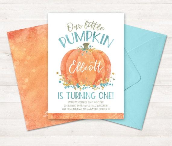 Little Pumpkin Invitation Little Pumpkin Turning One Invitation