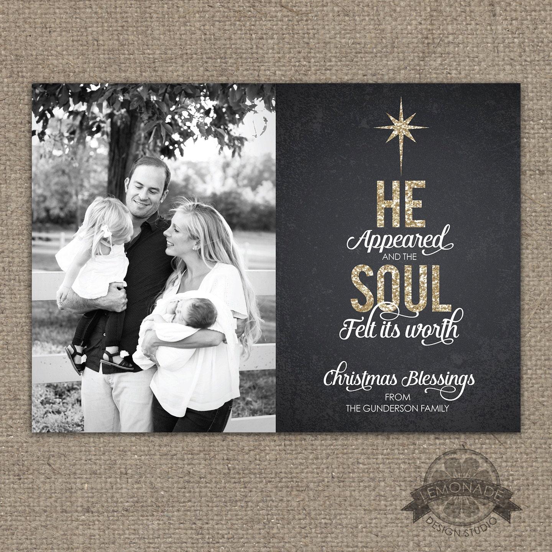 Christian Christmas Cards Gold Glitter Chalkboard He | Etsy