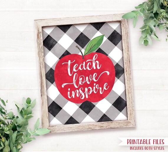 Printable Back to School Teacher Gifts, Teach Love Inspire ...