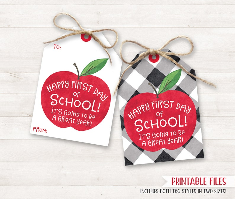 Back to School Teacher Gifts Printable Happy First Day of image 0