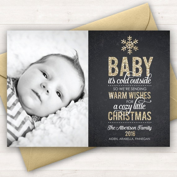 Photo Christmas Card Baby It S Cold Outside Baby S Etsy