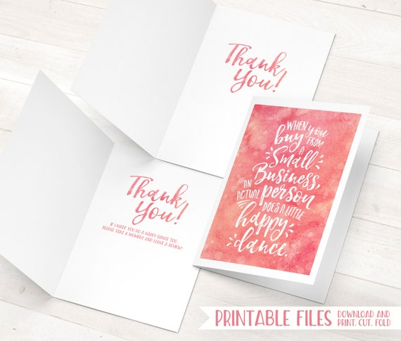 Small Business Cards Printable Thank You Cards Etsy Thank Etsy