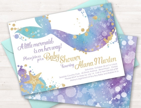 Mermaid baby shower invitation mermaid sprinkle invitation etsy image 0 filmwisefo