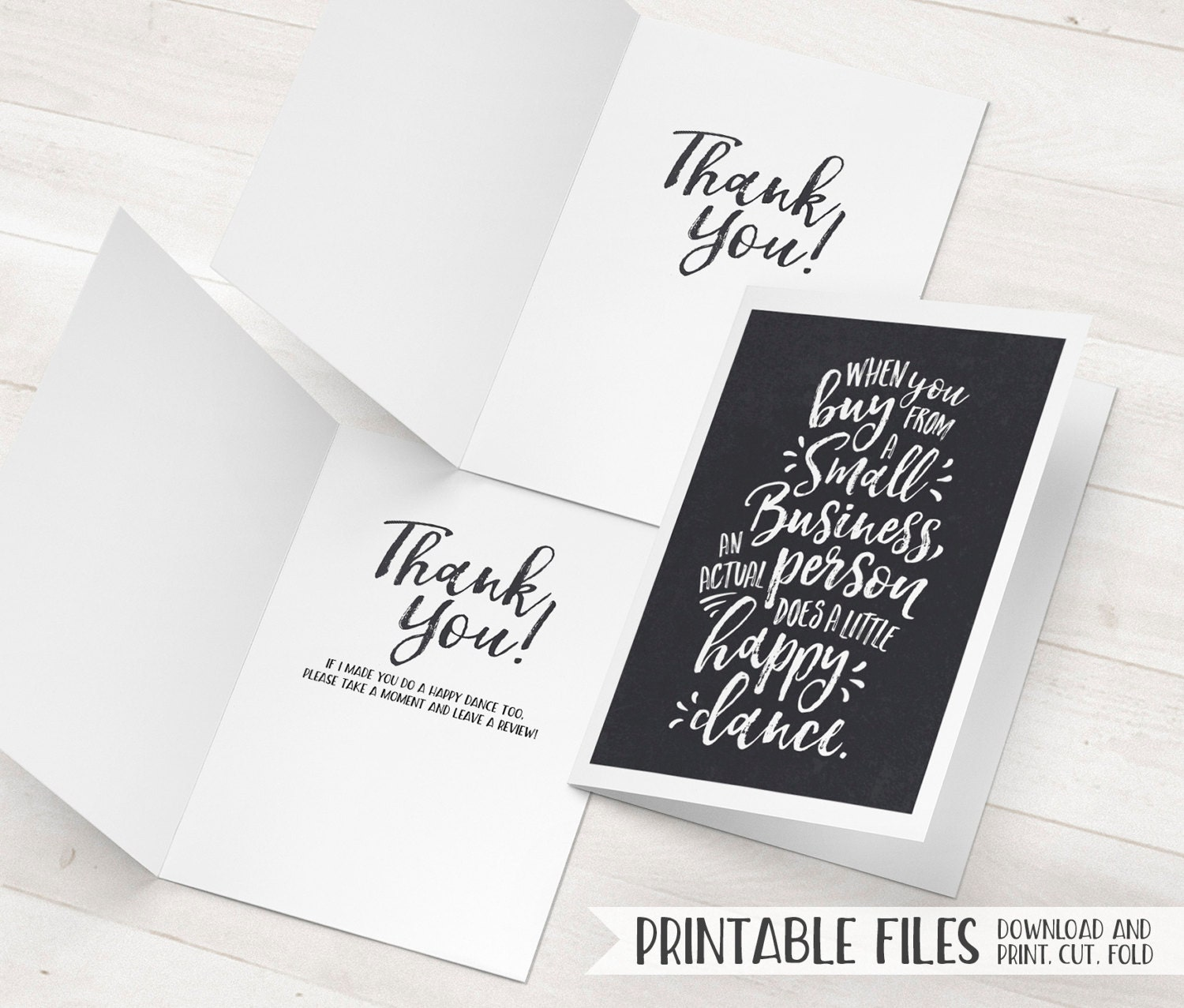 Business Thank You Card Small Business Cards Printable Thank Etsy