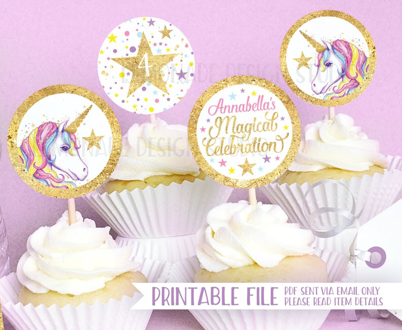 Unicorn Party PRINTABLE CUPCAKE TOPPERS