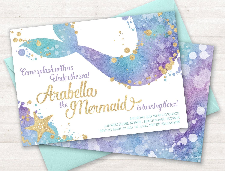 Mermaid Invitation Party Invite Under The Sea