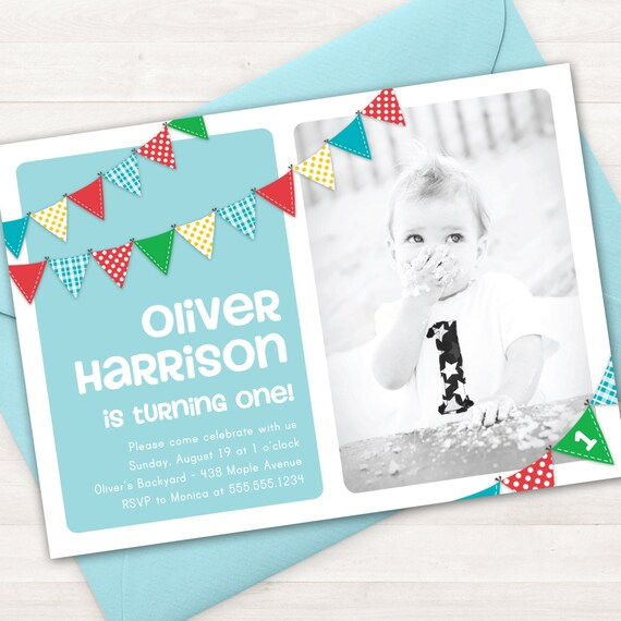Boy First Birthday Invitation Bunting Banner Photo Printable Invite 1 Year Old 2 ANY Age Blue Rainbow Invitations