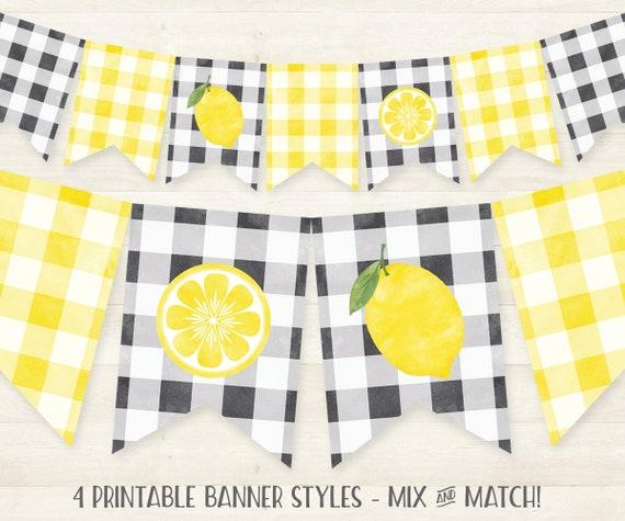 graphic regarding Lemonade Signs Printable identified as Lemon Banner PRINTABLE Lemonade Birthday Banner, Buffalo