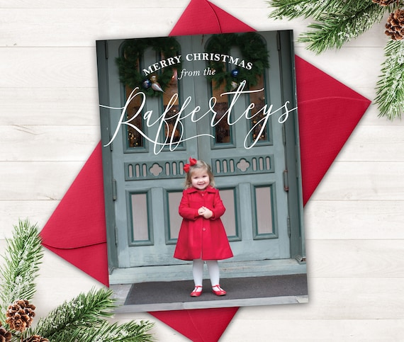 Photo Holiday Card All Around Merry Red Holiday Card Photo Christmas Card