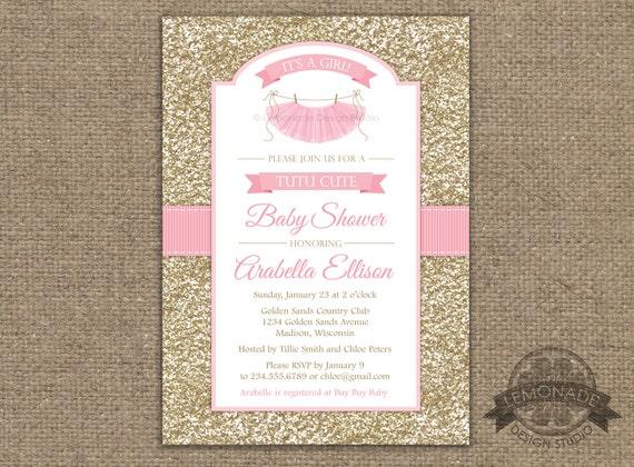 Tutu Cute Baby Shower Invitation Gold Pink Baby Shower Invitation