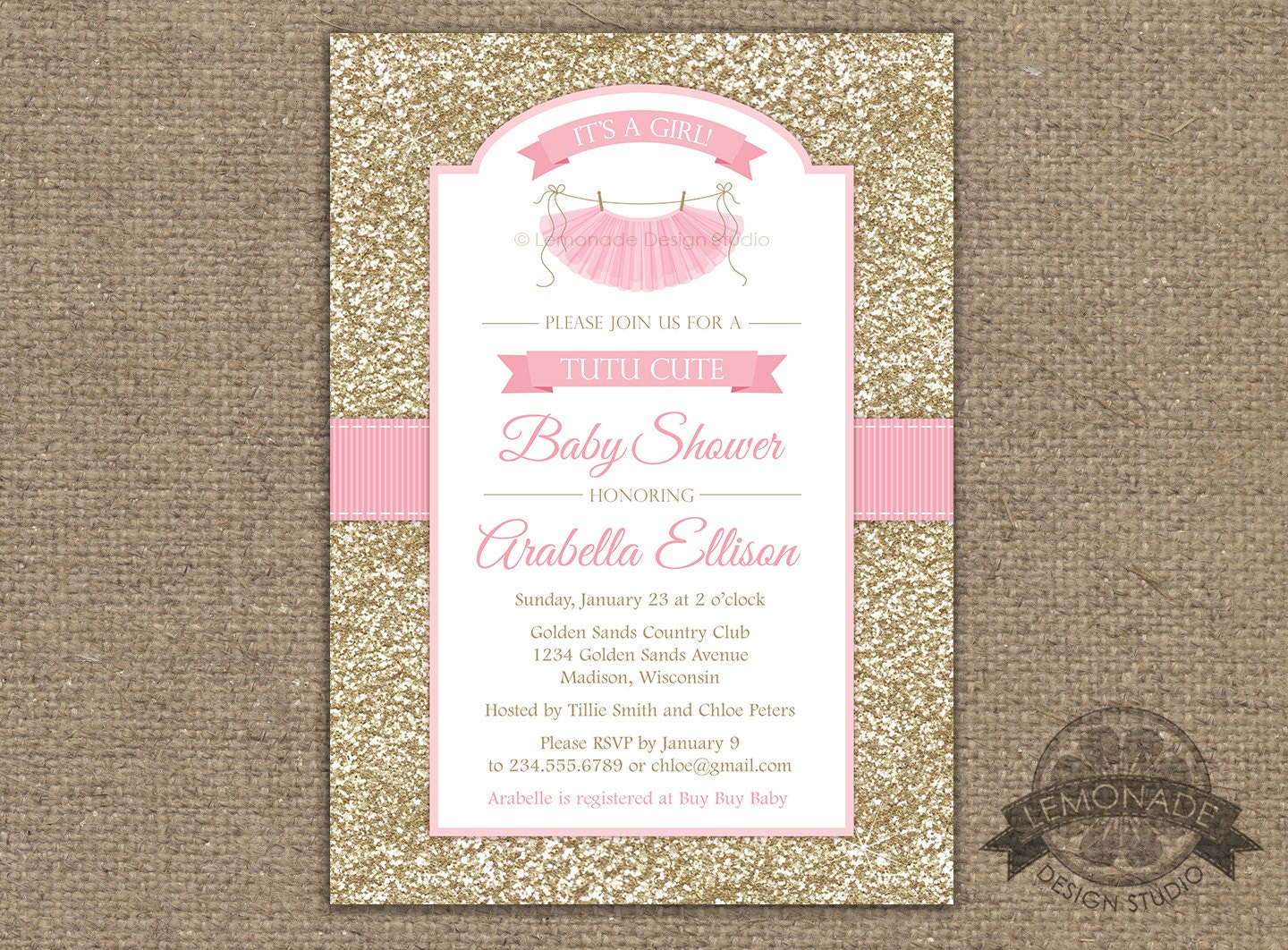 153d33cfc1d0 Tutu Cute Baby Shower Invitation Gold Pink Baby Shower