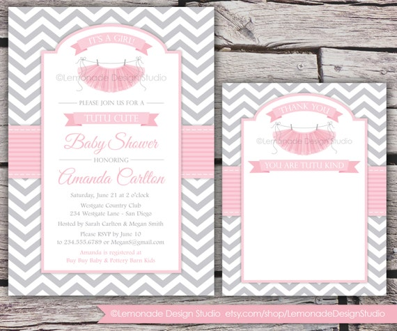 Tutu Cute Baby Shower Invitation And Thank You Card Chevron Etsy