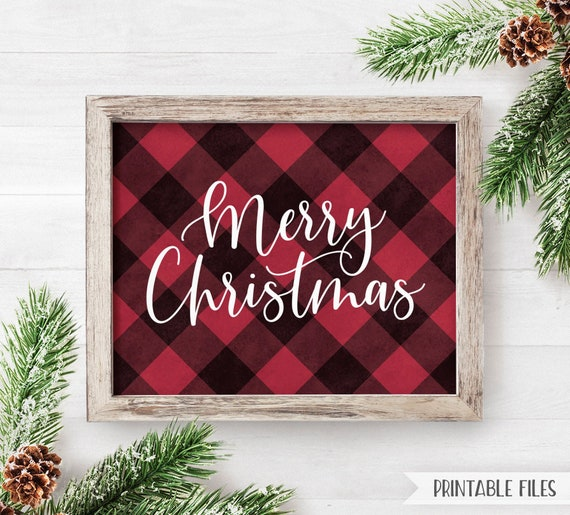graphic relating to Printable Merry Christmas Sign titled PRINTABLE Buffalo Plaid Xmas Decor Merry Xmas Indicator Trip Decor Indications Pink buffalo Plaid Indication Merry Xmas Farmhouse Signal 8x10
