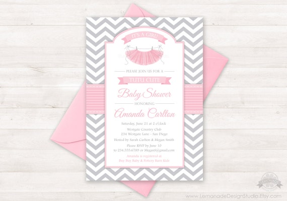 Tutu Cute Baby Shower Invitation Chevron Pink Grey Girl Etsy