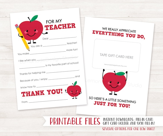 image relating to Teacher Appreciation Card Printable referred to as Stop of Calendar year Trainer Present Card Holder Trainer Appreciation Reward PRINTABLE Trainer Thank Oneself Card Appreciation Card Fill inside of Trainer Card Apple