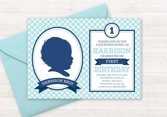 picnic birthday invitation kids custom silhouette invite plus