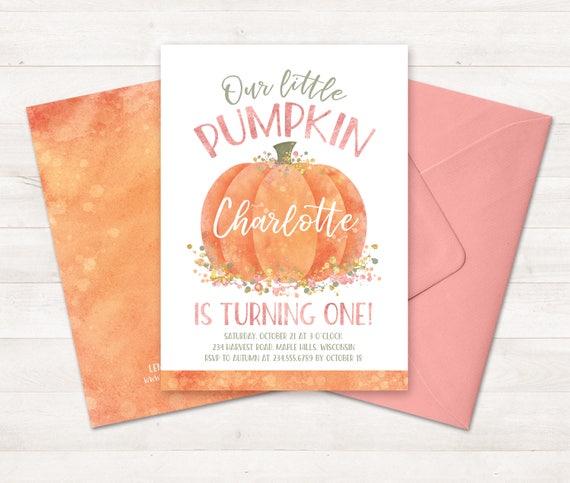 Little pumpkin first birthday invitation little pumpkin etsy image 0 filmwisefo