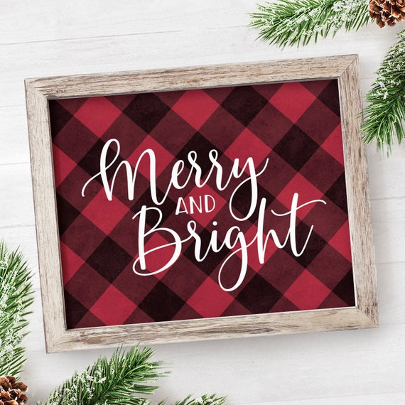 image about Printable Christmas Signs named Buffalo Plaid Xmas Decor PRINTABLE Xmas Indications Merry and Shiny Signal Farmhouse Xmas Crimson Getaway Decor Signal Farmhouse Indicator 8x10