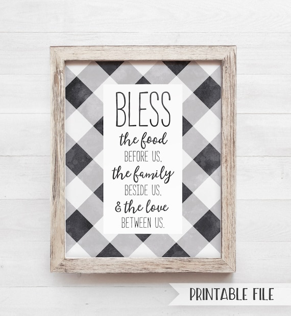 graphic relating to Bless the Food Before Us Printable titled PRINTABLE Kitchen area Decor, Bless the food stuff in advance of us indication