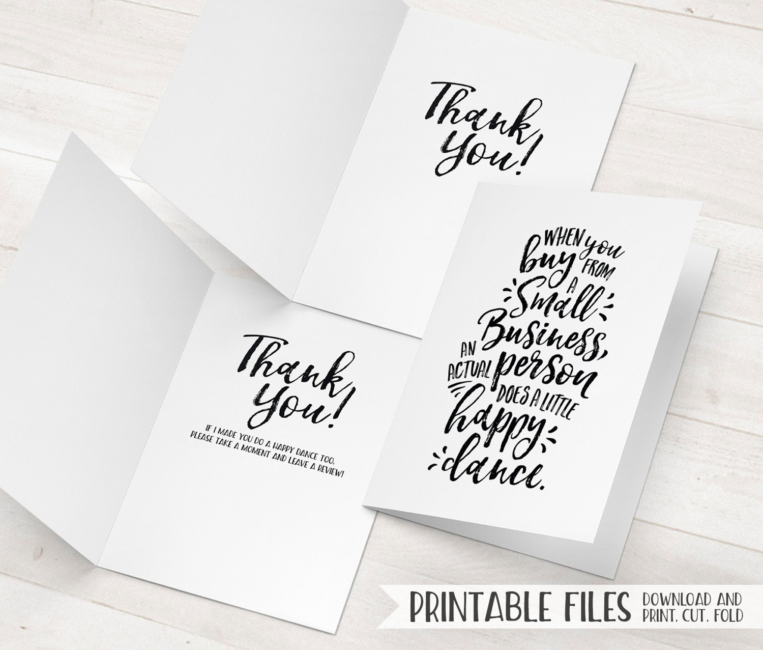 Small Business Thank You Cards Printable Package Inserts Etsy
