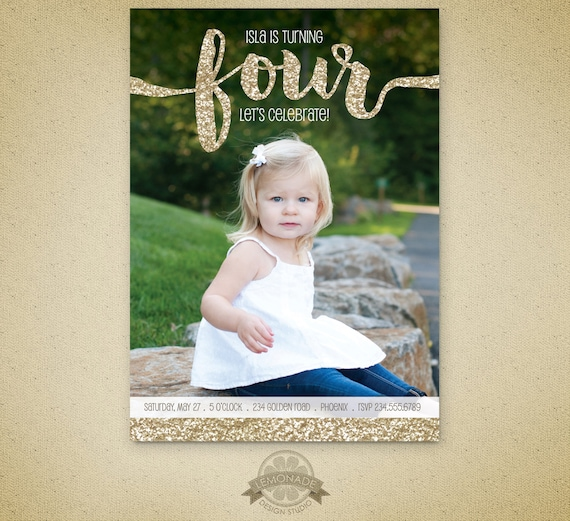 Gold Glitter Birthday Invitation Fourth 4 Year