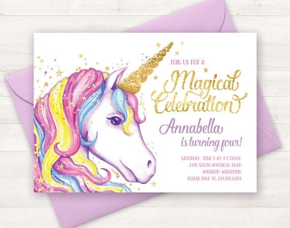 Unicorn invitation unicorn birthday invitation unicorn party etsy image 0 filmwisefo