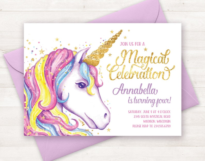 image about Birthday Party Invitations Printable called Unicorn Invitation, Unicorn Birthday Invitation, Unicorn Get together Invite, Unicorn Birthday Get together Invitation Printable Unicorn Invite Watercolor