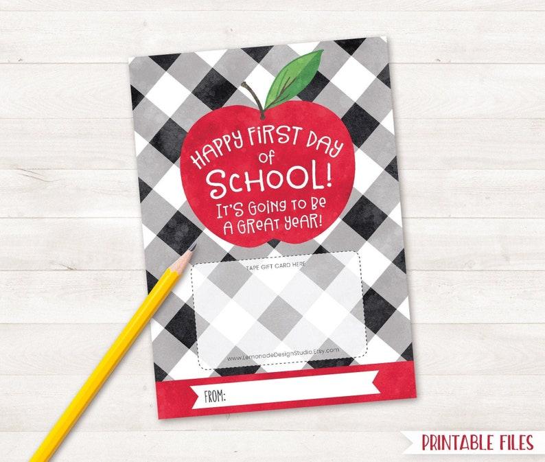 Back to School PRINTABLE Teacher Gift Card Holder, Happy First Day of  School Teacher Appreciation Buffalo Plaid Apple Bus Driver Thank You