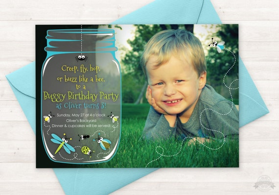 Bug Birthday Party Invitation Printable Invite ANY AGE Boy Girl Bugs Insects Jar