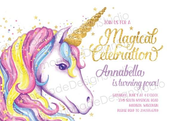 Unicorn Invitation Unicorn Birthday Invitation Unicorn Party Etsy