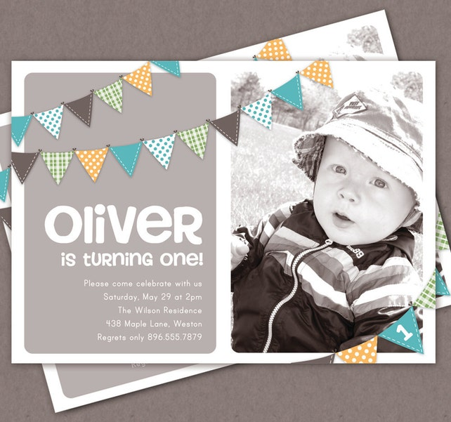 Boy First Birthday Invitation Bunting Flags Banner Photo Printable Invite