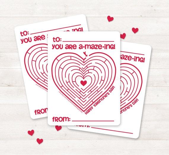 Printable Valentine Card Kids Valentine Card Valentine Maze Etsy