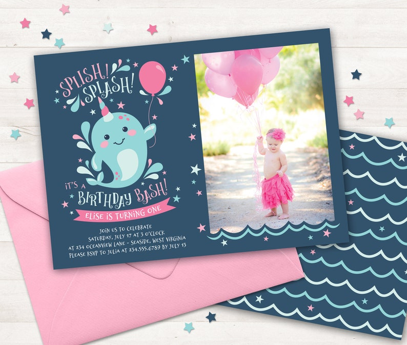 Narwhal Birthday Party Invitation Under Sea