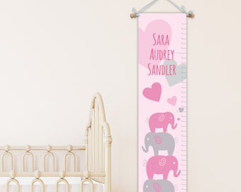 Elephant Growth Chart - Growth Chart Ruler - Elephant Nursery Art - Baby Gift - Personalized Growth Chart - First Birthday Gift - Baby Girl