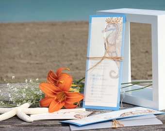 Beach Wedding Invitations - Destination Wedding Invitations - Seahorse Wedding Invitations - Nautical Wedding Invitations - Seahorse Wedding