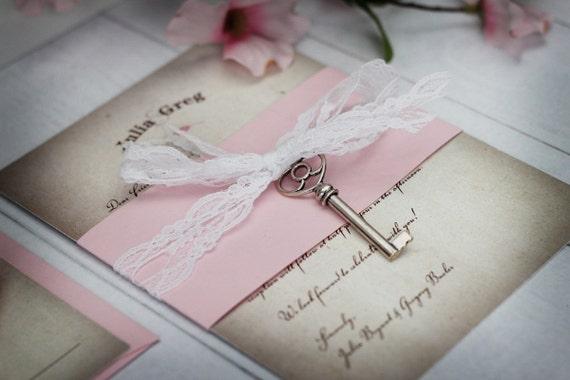 Key Themed Wedding Invitations: Skeleton Key Invitations Lace Wedding Invitations Vintage