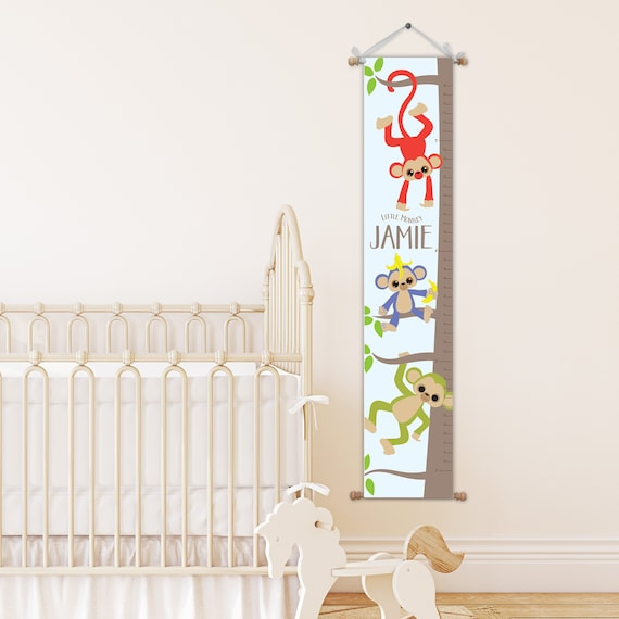 Monkey Growth Chart Personalized Growth Chart Baby Gift Etsy