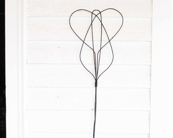 Metal Twisted Wire With Wood Handle Collectible Rug Whip Rustic Rug WhipBeater Double Loop Whip Vintage Kitchen Tools 1900s