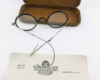 Vintage 'Willson Goggles' - Style No. Z1 - Original Metal Case With Paper - Eyeglasses from the Early 1920s - Industrial Safety Glasses