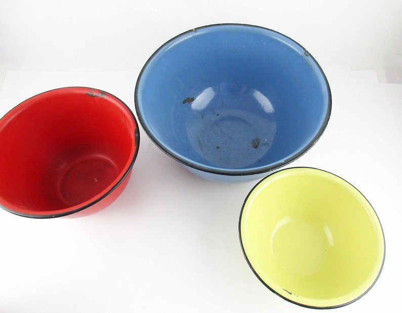 Farmhouse Chic Rustic Display Useful Heavily Enameled Red Three Enamel Bowls Vintage Enamelware Pieces Camp Yellow and Blue