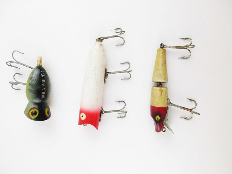 Your Choice Vintage Fishing Lures Wood Heddon Lucky 13 Articulated Wood Ready To Use Angler Fisherman Hula Hopper Sold