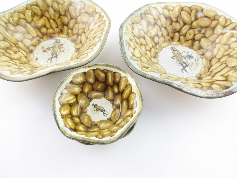Vintage Advertising Collectible Peanut Bowls Rustic Chic Barware Set of 1940s Tin Litho /'Mr Peanut/'