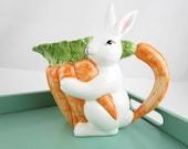Sweet Bunny Pitcher - 1950s 'Wangs International', Taiwan - Detailed - Carrots - Carrot Top Handled Pitcher - White Rabbit