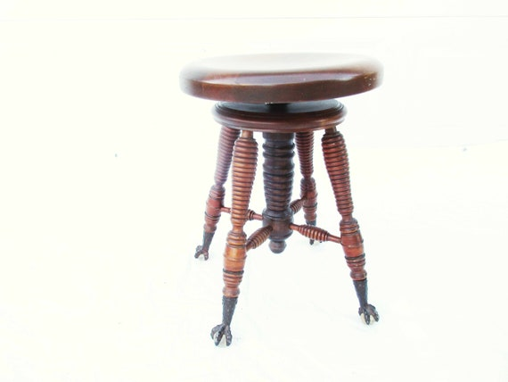 Peachy Vintage Round Piano Stool With Clawfeet Lovely Turned Legs 19 1 2 Tall Stool Sturdy Natural Wood Finish Detailing In Piano Stool Machost Co Dining Chair Design Ideas Machostcouk