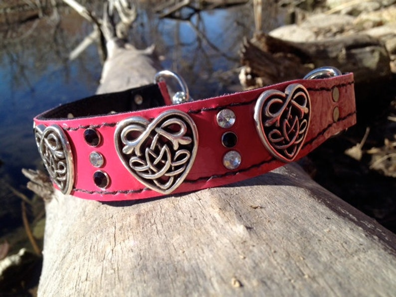 Pink /&Red Gemstone and Custom Nameplate Heart Dog Collar Valentine/'s Day Dog Red Leather Collar with Celtic Heart Concho 1.5 inches wide