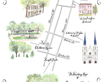 Watercolor Wedding Map PDF